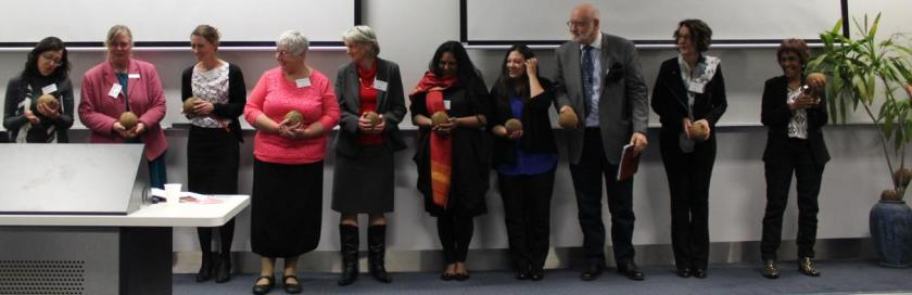 Thankyou coconuts to the presenters from Australia. L to R Barbara Yazbeck (Monash), Deborah Murdoch (CSU), Michelle Harrison (USyd), Nayana Parange , Stephanie Eglington-Warner, Sabine Schuhrer , Colin Sharp and Robyn Davidson